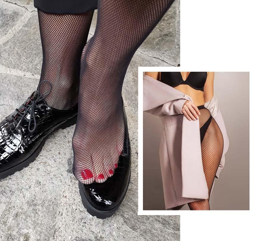 Mrežaste nogavice se lepo podajo tudi k hlačam.